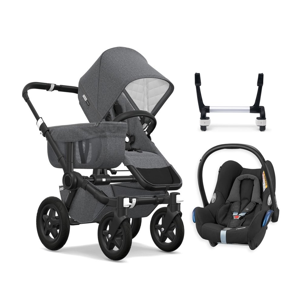 Bugaboo Donkey Duo Classic Donkey 2 Mono Classic Collection Pushchair Black Chassis Grey Melange Free Maxi Cosi Cabriofix