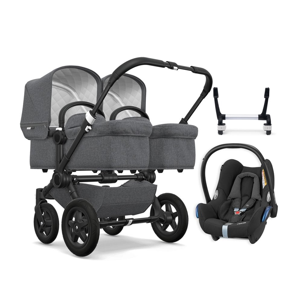 Bugaboo Donkey Duo Classic Donkey 2 Twin Classic Collection Pushchair Black Chassis Grey Melange Free Maxi Cosi Cabriofix