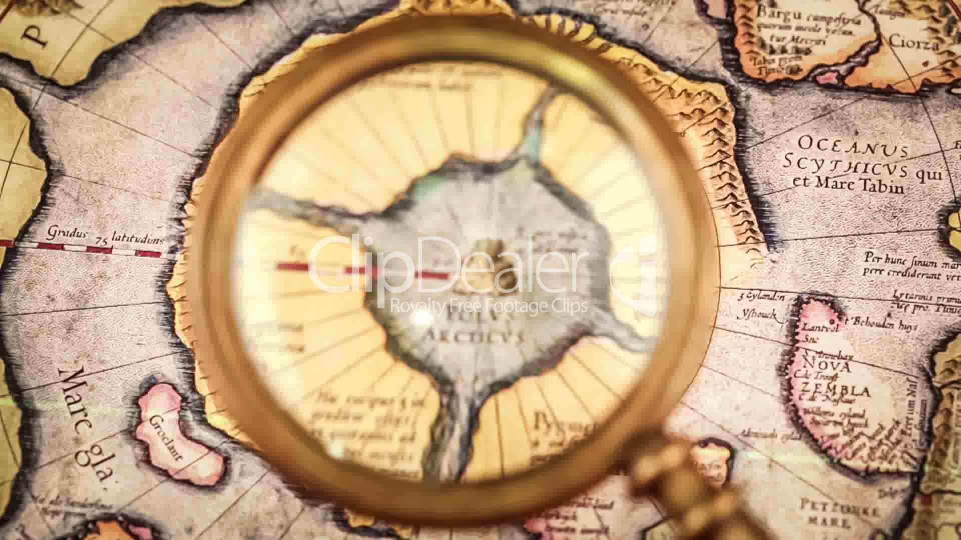 Deko 24 Vintage Magnifying Glass Lies On The Ancient Map Of The