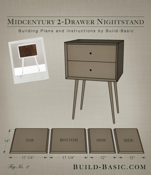 Build A Diy Midcentury 2-Drawer Nightstand ‹ Build Basic