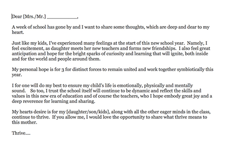 Letter To My Kids Teacher - child letter