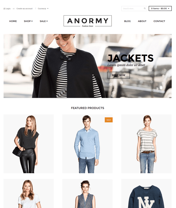 anormy minimal shopify theme
