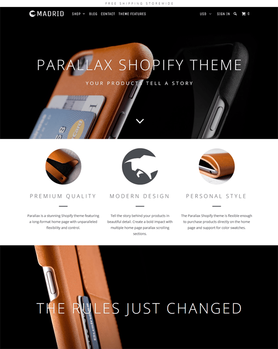 madrid parallax shopify theme