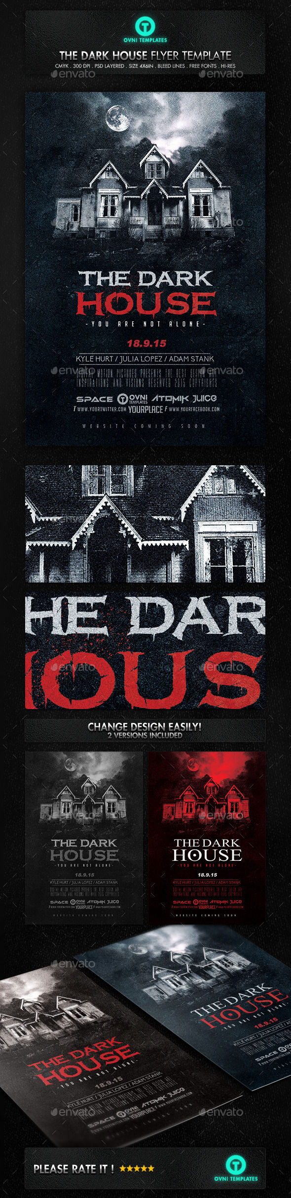 Dark Terror House Flyer Movie Poster by OVNI-TEMPLATES (Halloween party flyer)