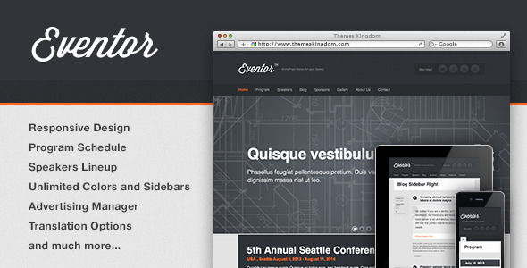 Eventor by Themeskingdom (event & conference WordPress theme)