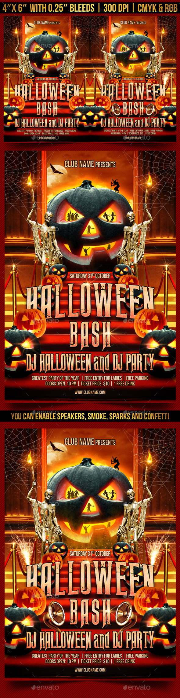 Halloween Bash Flyer Template by Gugulanul (Halloween party flyer)