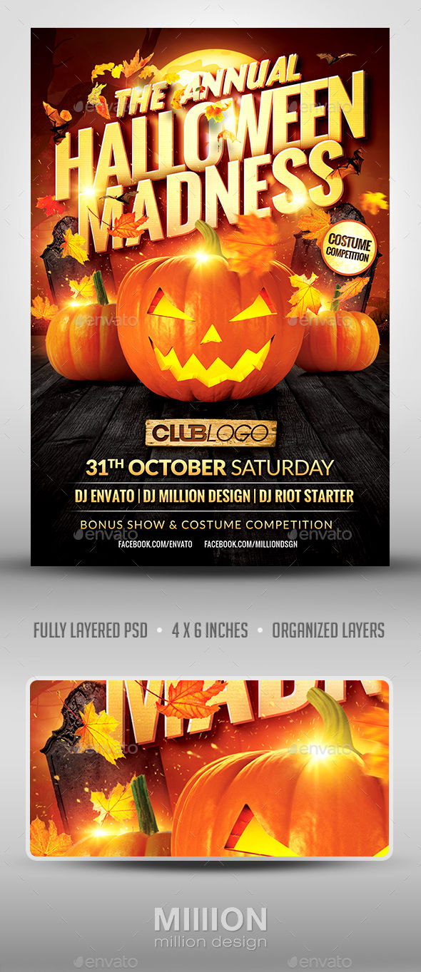 Halloween Madness Flyer Template by Milanherr (Halloween party flyer)