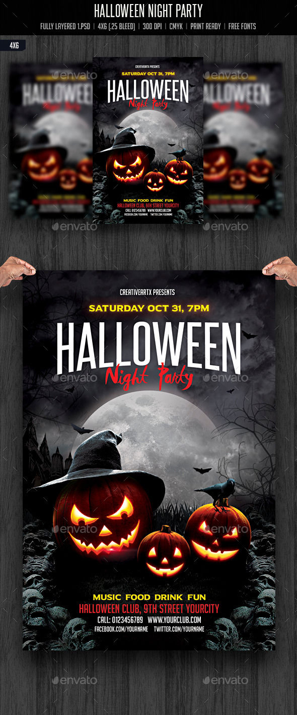 Halloween Night Party by Creativeartx (Halloween party flyer)