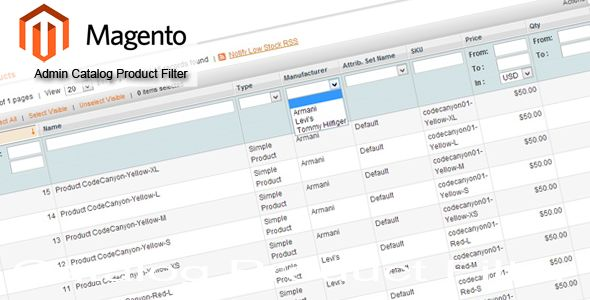 Magento Admin Catalog Product Filter by Arisdario (Magento extension)