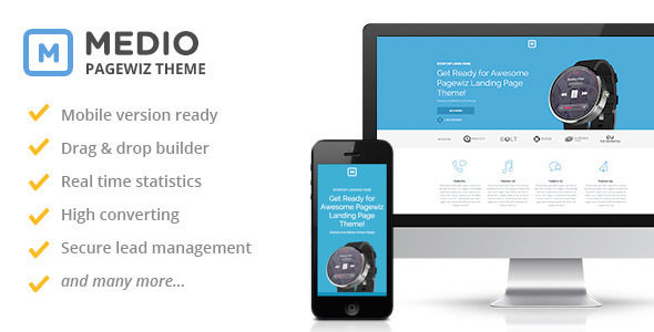 Medio by Slidehack (landing page template for PageWiz)