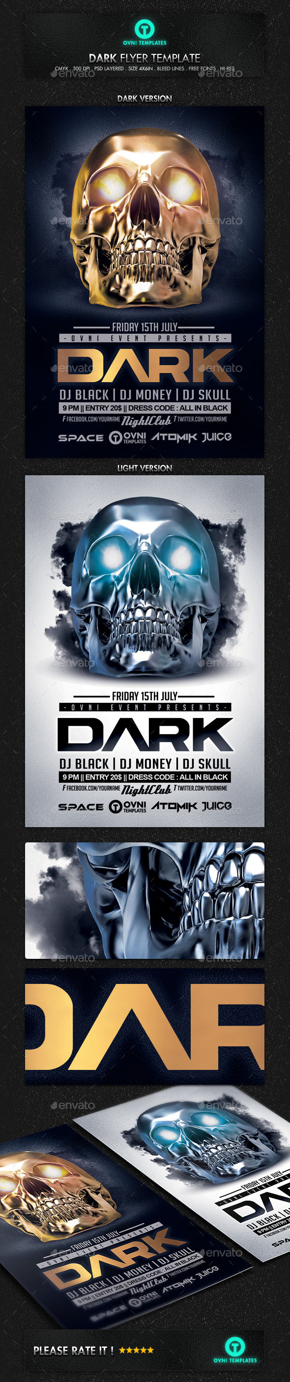 Skull Dark Flyer Template by OVNI-TEMPLATES (Halloween party flyer)