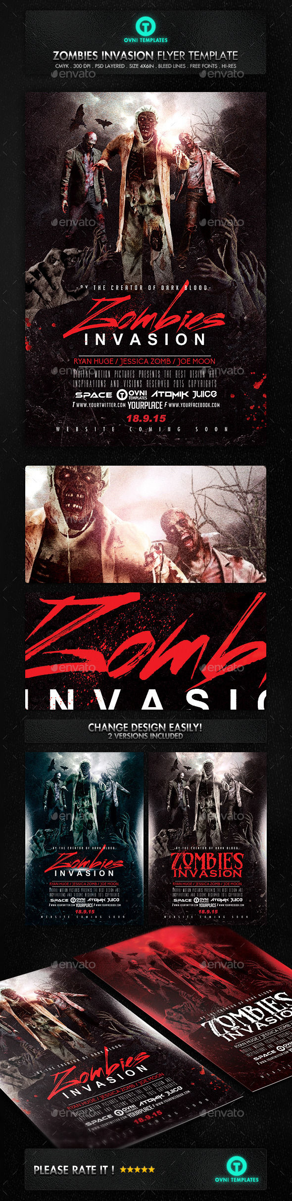 Zombies Dead Invastion Flyer Template by OVNI-TEMPLATES (Halloween party flyer)