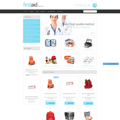 Ambulance Responsive Shopify Theme (Shopify theme for medical and health stores) Item Picture