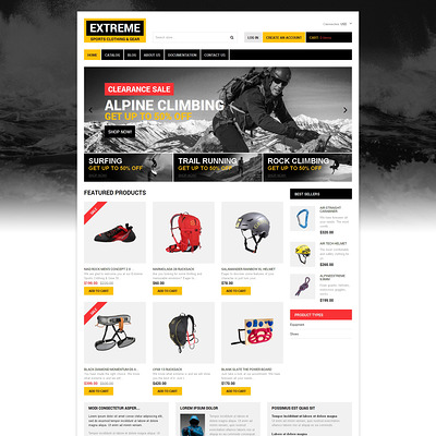 Extreme Sports Responsive Shopify Theme (Shopify theme for sports stores) Item Picture