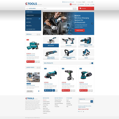 Functional Online Shop Magento Theme (Magento theme for tool stores) Item Picture