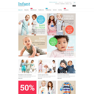 Kids Fashion Magento Theme (Magento theme for kids, babies, and children) Item Picture