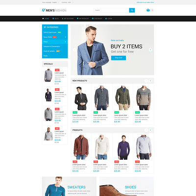 Masculine Elegance Magento Theme (Magento theme for mens and womens clothing) Item Picture