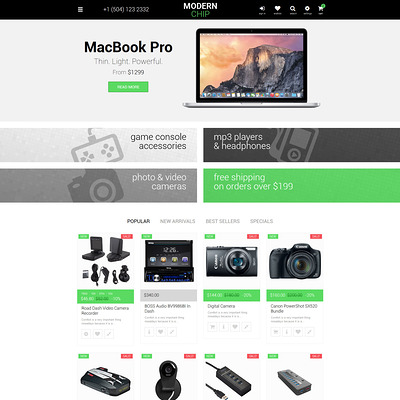 Modern Chip PrestaShop Theme (PrestaShop theme for computer hardware stores) Item Picture