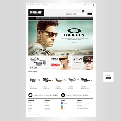 Sunglasses Store PrestaShop Theme (PrestaShop theme for sunglasses and eyewear) Item Picture