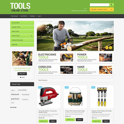 Tools Online Magento Theme (Magento theme for tool stores) Item Picture