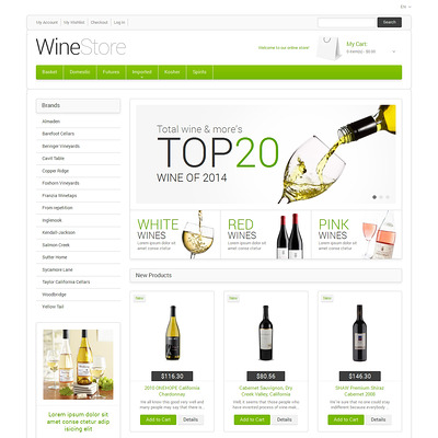 Wine for Your Delight Magento Theme (Magento theme for selling beer, wine, and liquor) Item Picture
