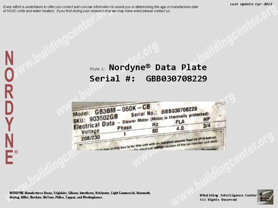 NORDYNE HVAC age \u2013 Building Intelligence Center