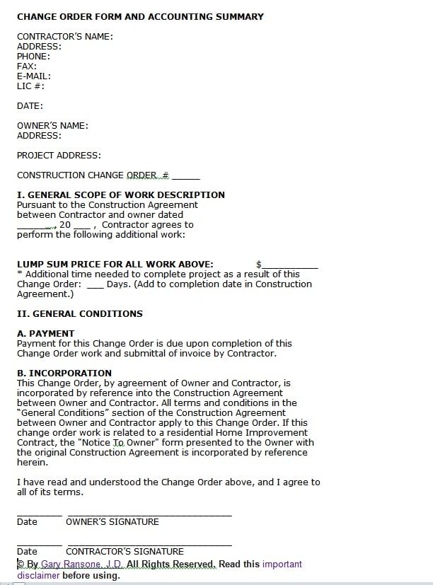 Construction Change Orders BuildingAdvisor - construction change order form