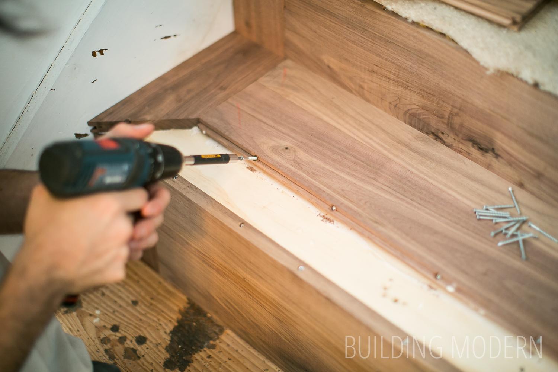 Foyer Stairs Installing Hardwood Treads