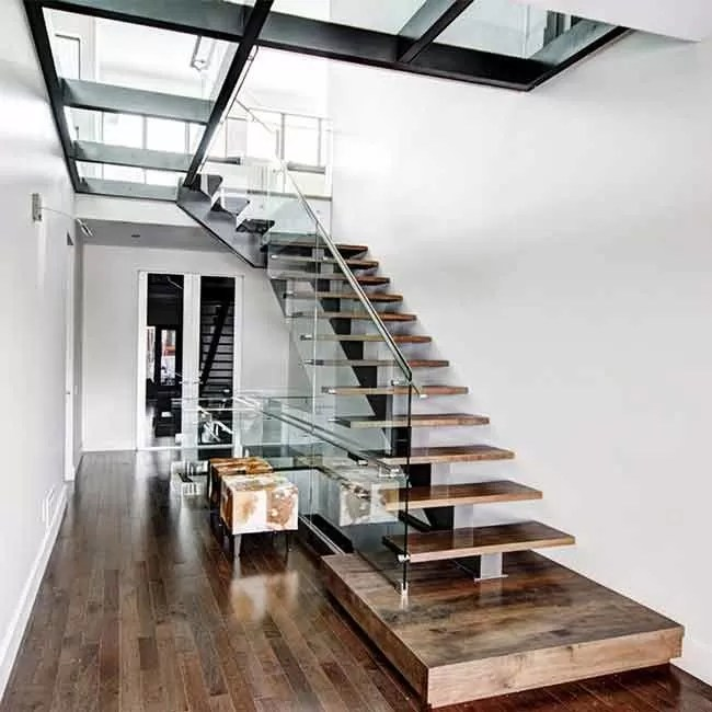 Detail Railing Tangga American Standard Stair Single Mono Steel Beam Steel Glass