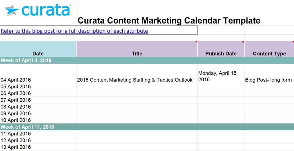 10 free content strategy  editorial calendar templates - Builtvisible - Calendar Template