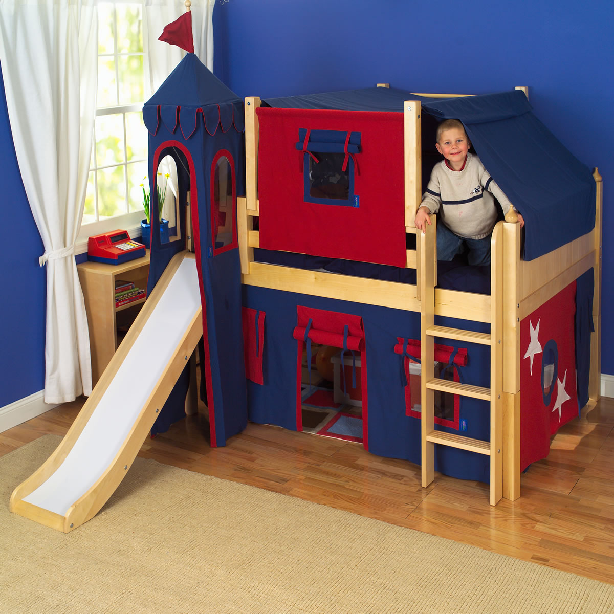 Kid Fun Bed Maxtrix Kids King 39s Castle Low Loft Bed With Slide
