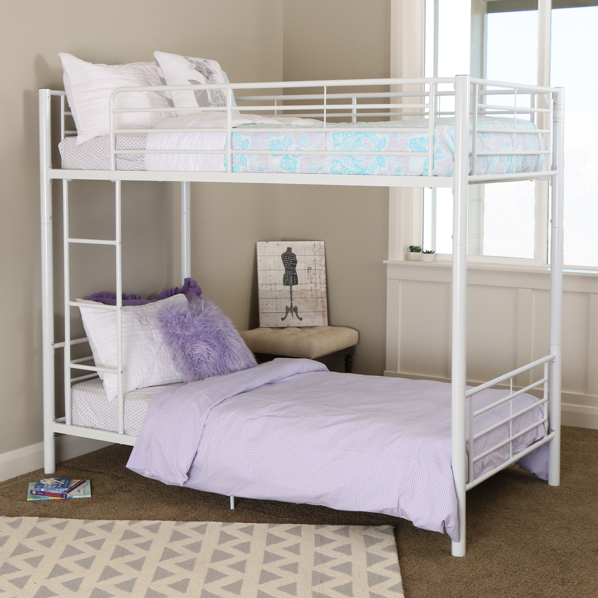 Twin Loft Bed Twin Over Twin White Metal Bunk Bed
