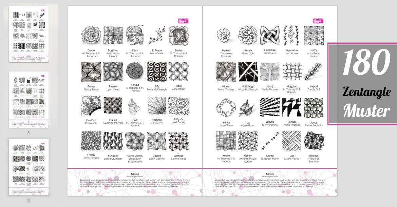 PDF mit 180 Zentangle Mustern zum Ausdrucken
