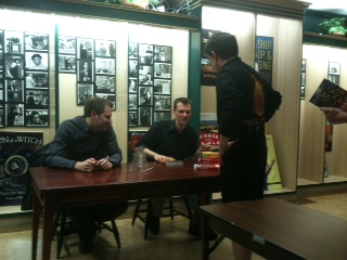 Ben Thompson and book illustrator Steve Belledin sign books at the BU Bookstore. | Photo by Paul Squire