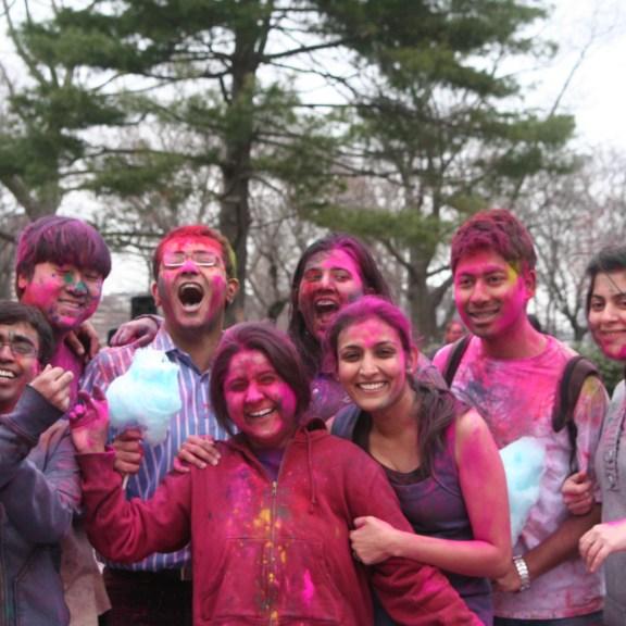 BU students celebrate Holi, the Hindu Festival of Colors | Photo by Heather Vandenengel