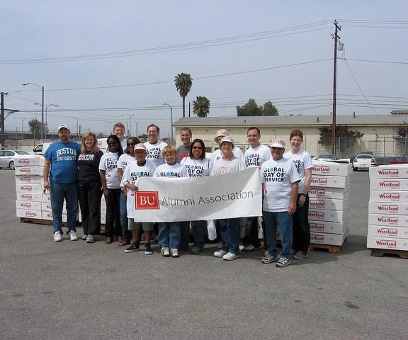 BU alumni in California volunteered at the Food Bank of Southern California in 2010. | Photo Courtesy the Boston University Alumni Association Flickr.