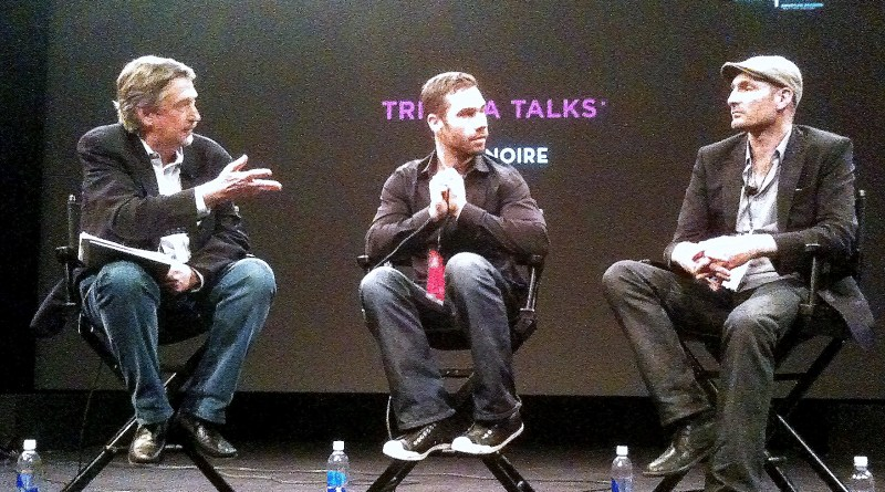 "(From right) Tribeca Film Festival CCO Jeoff Gelmore and Rockstar Games employees Rob Nelson and Simon Ramses discuss the upcoming detective game ""L.A. Noire."" 