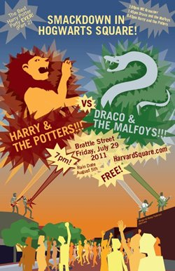 Raise your butterbeers and pumpkin juice to the  Best Harry Potter Party EVER (Part 2) this Friday in Harvard | Poster courtesy Harvard Square Business Association