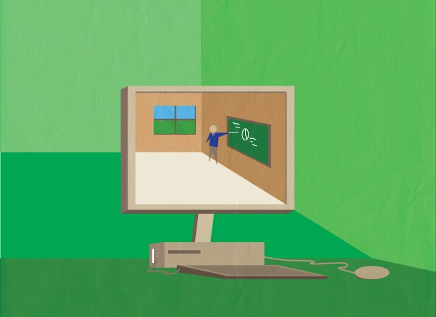 Online education brings the classroom to you. | Illustration by Evan Caughey