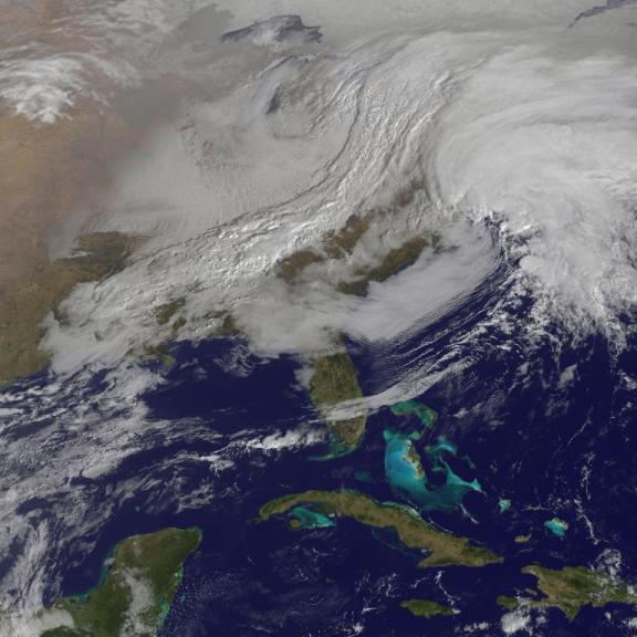 A satellite photo of the Blizzard Nemo.  |  Photo courtesy of NASA