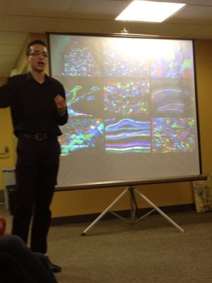 Darrien Garay explains the complexity of the brain | Photo courtesy of BU Students for Sensible Drug Policy via Twitter