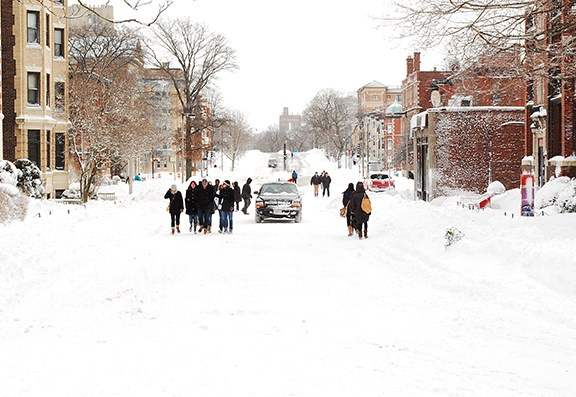 The empty South campus streets in the aftermath of Nemo. | Photo by Allan Lasser