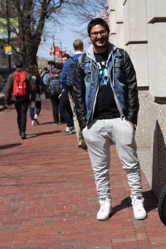 Omeed (SMG '14) is all cool sweats (from Acne) and big swagger. Photo by Sharon Weissburg.