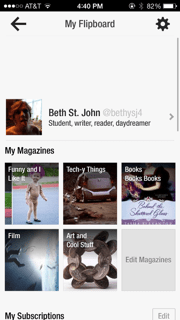 Example of personal profile and potential (and super awesome) magazines you can create with Flipboard.