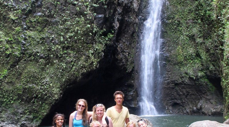 Sarah's WWOOF group at the sacred falls.  |  Photo by Sarah Epstein