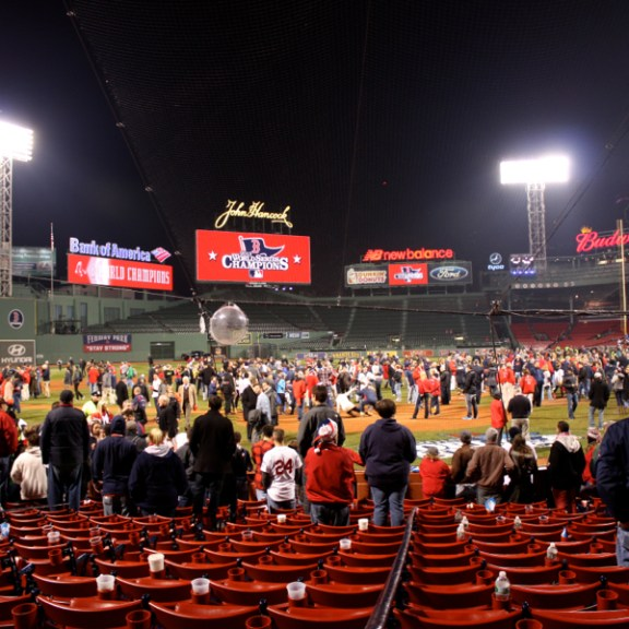 Fans watched players and their families celebrate the big win from behind home plate