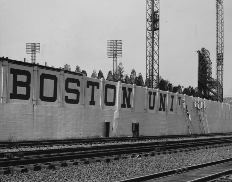 """After purchasing the field, BU replaced the word """"Braves"""" with its own Boston-prefixed moniker. 