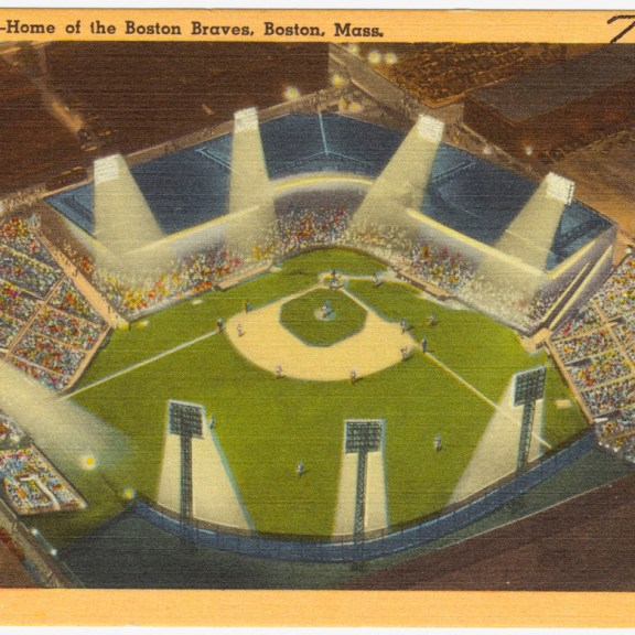 A postcard of Braves Field. | Image from The Tichnor Brothers Collection at the Boston Public Library.