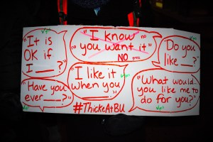 A protester's sign outlines messages that wouldn't perpetuate rape culture.