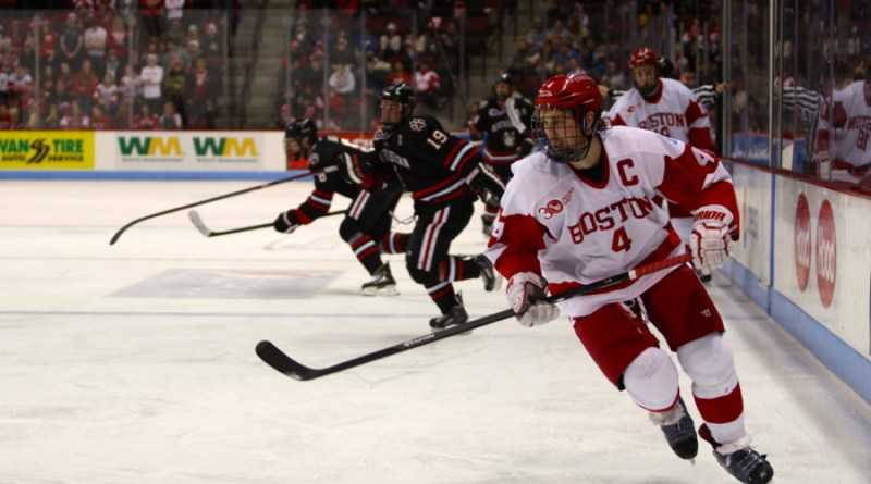 MacGregor rushes down the ice ahead of the NU offense